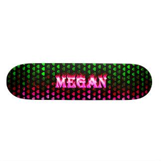 Megan skateboard pink fire and flames design
