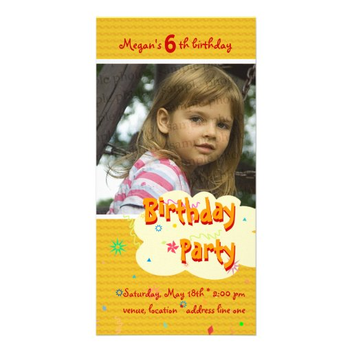 Megan's Birthday Party Photo Invitation Photo Greeting Card