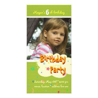 Megan's Birthday Party Photo Invitation Photo Card Template
