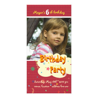Megan's Birthday Party Photo Invitation Photo Greeting Card