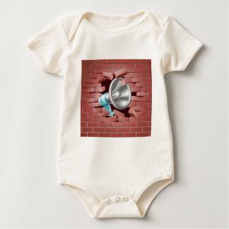 Megaphone Breaking Through Brick Wall Baby Bodysuit