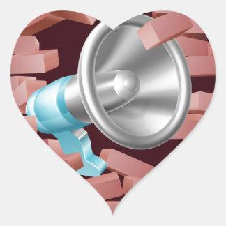 Megaphone Breaking Through Brick Wall Heart Sticker