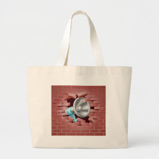 Megaphone Breaking Through Brick Wall Large Tote Bag