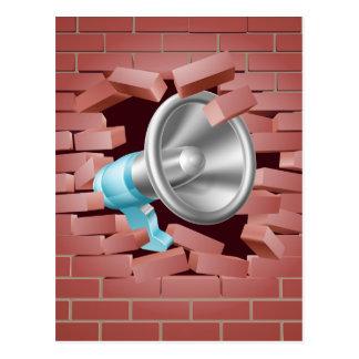 Megaphone Breaking Through Brick Wall Postcard