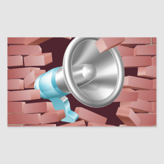 Megaphone Breaking Through Brick Wall Rectangular Sticker