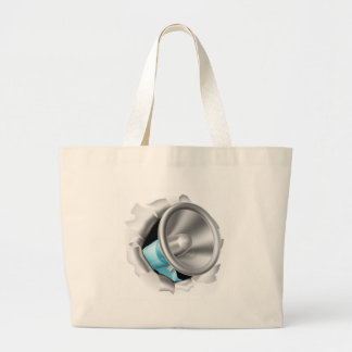 Megaphone Bursting Through Background Large Tote Bag
