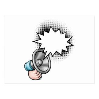 Megaphone Comic Book Speech Bubble Postcard