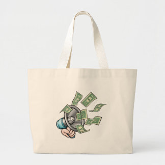 Megaphone Money Concept Large Tote Bag