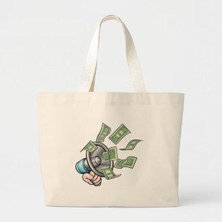 Megaphone Money Concept Large Tote Bag