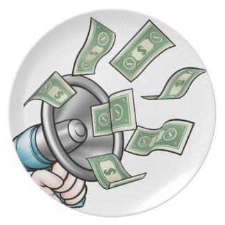 Megaphone Money Concept Plate