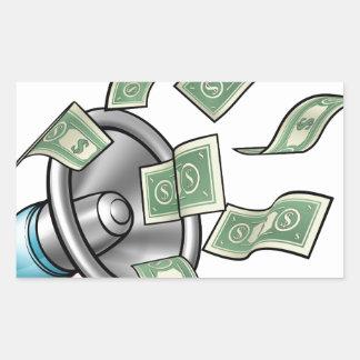 Megaphone Money Concept Rectangular Sticker