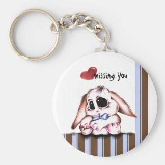 Megg: A cute bunny - boy, missing you, keychain
