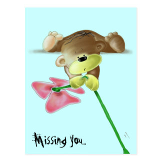 Megg: A cute teddy bear with a flower, missing you Postcard