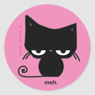 Meh Cat Sticker on Pink