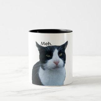 """Meh"" cat Two-Tone Coffee Mug"