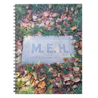 Meh Gravestone Morbid Humor Cemetery Geek Funny Note Book