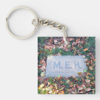 Meh Gravestone Morbid Humor Cemetery Goth Funny Double-Sided Square Acrylic Key Ring