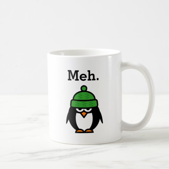 Meh meme Funny apathy quote penguin coffee mug