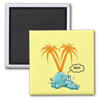 Meh. Silly Blue Elephant Cartoon with Googly Eyes Square Magnet