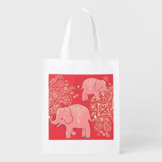 Mehndi Elephants reusable shopping bag tote Grocery Bags