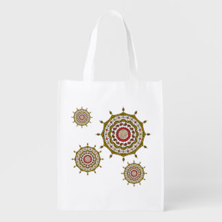 Mehndi Fantasy Gold Reusable Grocery Bag