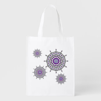 Mehndi Fantasy Silver Reusable Grocery Bag Reusable Grocery Bag