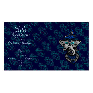 Mehndi Ganesha (Blue) Double-Sided Standard Business Cards (Pack Of 100)