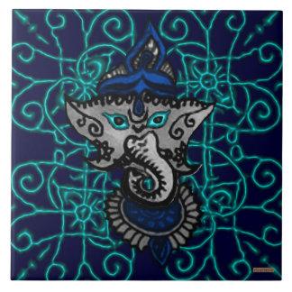 Mehndi Ganesha (Blue) Large Square Tile