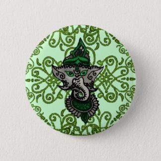 Mehndi Ganesha (Green) 6 Cm Round Badge
