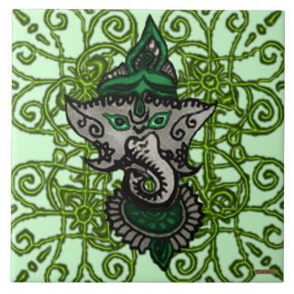 Mehndi Ganesha (Green) Large Square Tile