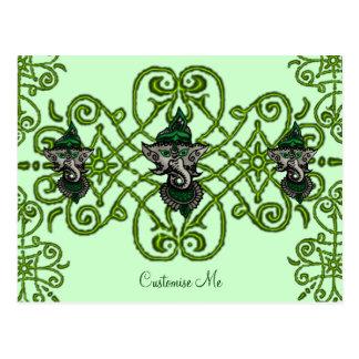 Mehndi Ganesha (Green) Postcard