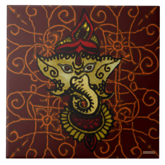 Mehndi Ganesha Large Square Tile