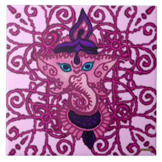 Mehndi Ganesha (Pink) Large Square Tile