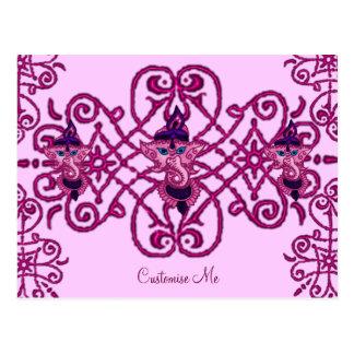 Mehndi Ganesha Pink Post Card