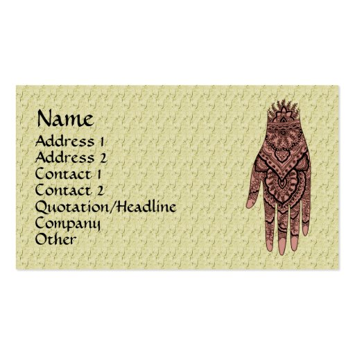 collections of mehndi business cards