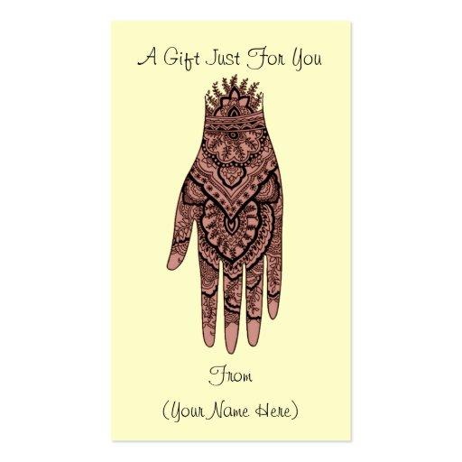 Mehndi Hand Design Personalized Gift Card Tag Business Card