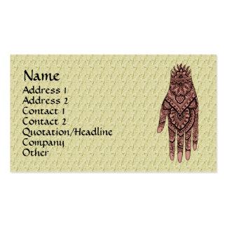 Mehndi Hand Tattoo Art Design Business Card