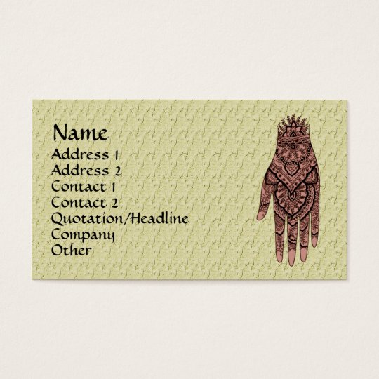 Mehndi Hand Tattoo Art Design Business Card