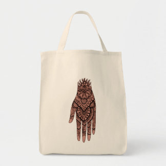Mehndi Hand Tattoo Art Design Tote Bag