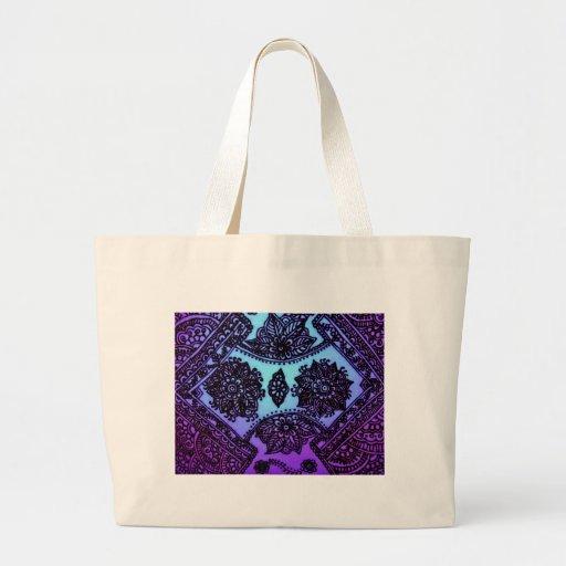 Mehndi Henna Blue Mix Canvas Bag