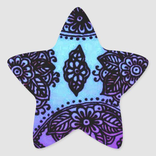Mehndi Henna Mix : Mehndi henna blue mix star sticker zazzle
