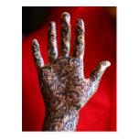 Mehndi henna hand postcard
