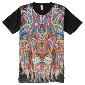 mehndi henna lion colorful psychedelic full print All-Over print T-Shirt