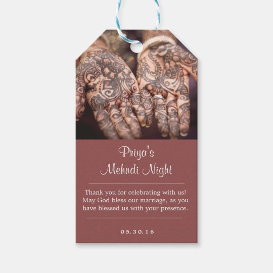 Mehndi (Henna) Night Thank You Gift Tags