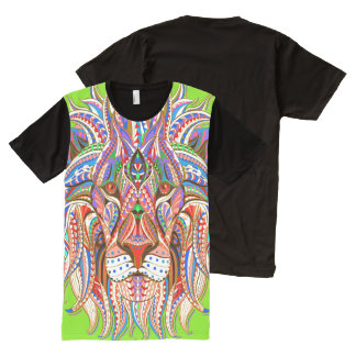 mehndi henna rasta lion colorful psychedelic All-Over print T-Shirt