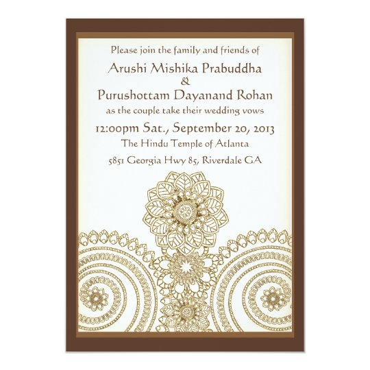 Mehndi Lace (5x7 Wedding Invitation) Card