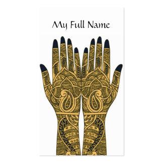 Mehndi Tattoo Hands Business Card Template