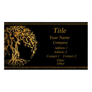 Mehndi Tree of Life (Gold) Business Card Templates