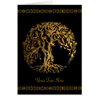 Mehndi Tree of Life (Gold) Greeting Card