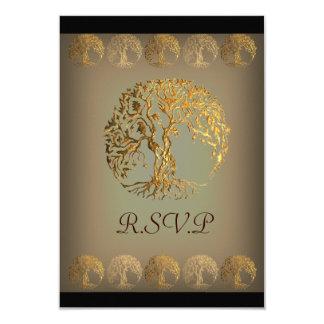 "Mehndi Tree of Life (Gold) 3.5"" X 5"" Invitation Card"